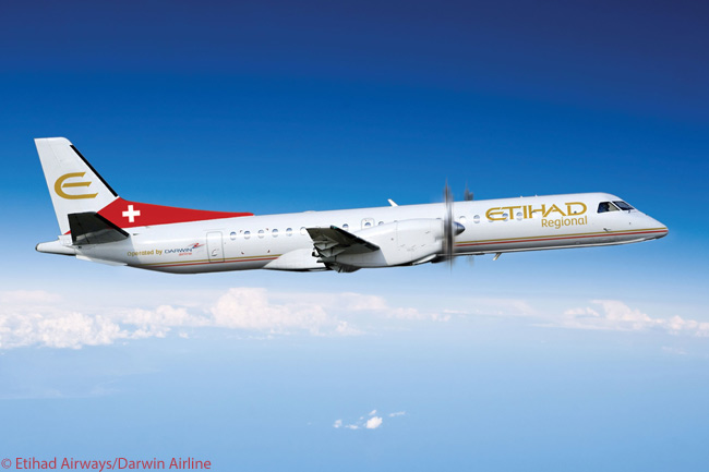 Switzerland's Darwin Airline officially was re-branded as Etihad Regional on January 16, 2014. This computer graphic image shows one of Darwin's eight Saab 2000 turboprops in the carrier's new Etihad Regional livery