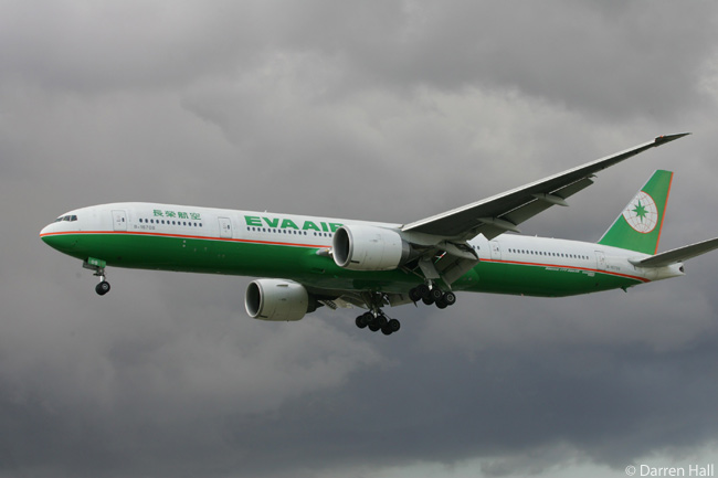 EVA Air Boeing 777-300ER B-16708 is photographed on final approach to London Heathrow Airport