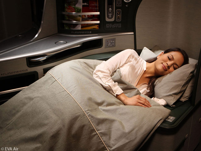 Each of the seats in Royal Laurel class on EVA Air's Boeing 777-300ERs folds down into a flat-bed seat 78 inches long. Seat pitch is a very comfortable 81 or 87 inches depending on the location of the seat