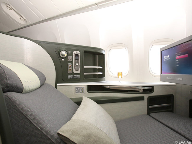 Each seat in EVA Air's Royal Laurel class is 26 inches in width. This is comparable to or more generous than the width of long-haul business class seats on many major international carriers