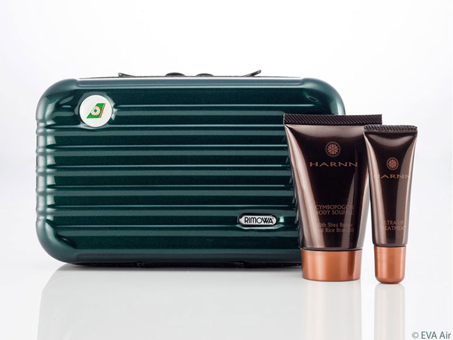The forest green-colored amenity kits at each seat in EVA Air's Royal Laurel class cabins are memorable. Designed by the venerable German luggage-maker Rimowa, they look like miniature versions of the company's ribbed suitcases