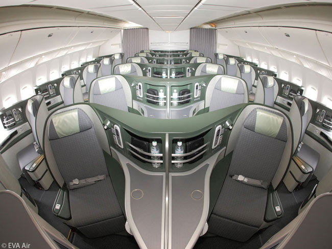 Each Royal Laurel-class cabin in an EVA Air Boeing 777-300ER is laid out in a 1-2-1 seat row configuration, offering direct aisle access from every seat
