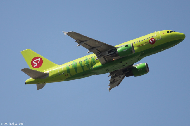 Airbus A319 VP-BTT of Rusia's S7 Airlines is photographed taking off from Frankfurt Airport