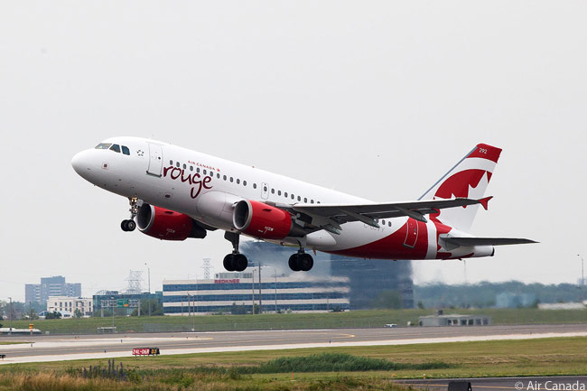 An Air Canada rouge Airbus A319 takes off from Toronto Pearson International Airport