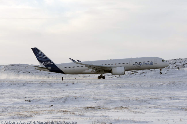 The second flight-test A350-900, designated MSN3, touches down at Iqaluit Airport in northern Canada in late January 2014 after a local flight. The flight formed part of a series of cold-weather trials performed by the aircraft at Iqaluit, during the certification flight-test program for the Airbus A350-900