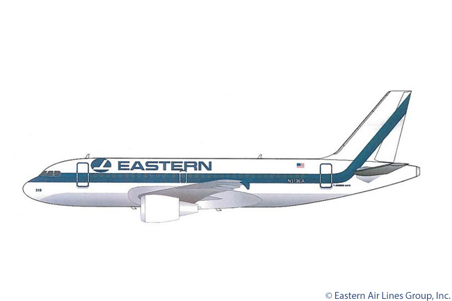"This is an artist's impression of an Airbus A319 in the colors of Eastern Air Lines, a new company legally unaffiliated with the original Eastern Air Lines but which was formed to re-launch the Eastern Air Lines name. The new company would christen its first aircraft ""Spirit of Captain Eddie Rickenbacker"". The new Eastern expected its first aircraft, a leased A319, to be delivered to Eastern in summer 2014. Captain Eddie Rickenbacker was a U.S. Army Air Corps fighter ace in World War 1. He received the Congressional Medal of Honor and went on to become owner and CEO of Eastern Air Lines from 1935 to 1963"