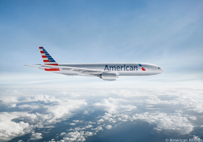 This is a computer graphic image of a Boeing 777-200ER in American Airlines' new livery. American operates 47 Boeing 777-200ERs