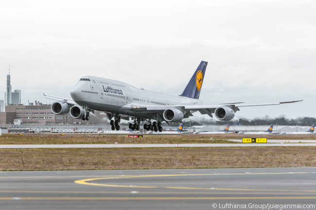 Lufthansa's 10th Boeing 747-8 Intercontinental, registered D-ABYL, lands at Frankfurt Airport on February 7, 2014, following its delivery flight from Paine Field in Everett, Washington