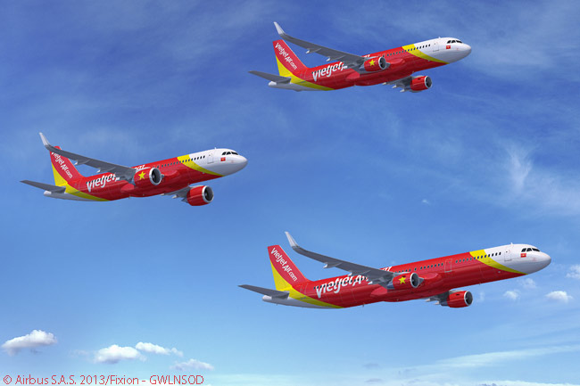 On February 11, 2014, Vietnamese carrier VietJetAir signed a firm order at the Singapore Airshow for 42 Airbus A320neos, 14 A320s and seven A321s. VietJetAir also acquired purchase rights on 30 more A320-family aircraft and agreed to lease eight additional A320-family jets from third-party leasing companies