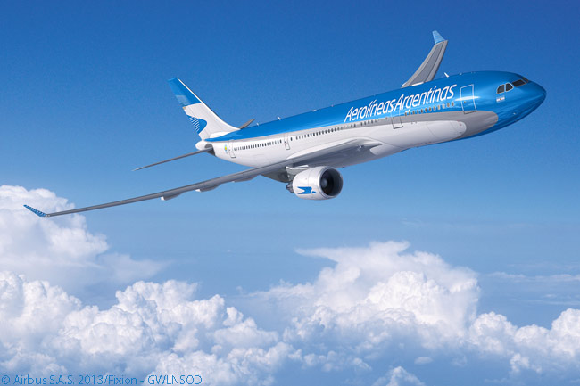 On February 13, 2014, Aerolineas Argentinas ordered four more Airbus A330-200s to add to its all-Airbus long-haul fleet. This computer graphic image shows an A330-200 in Aerolineas Argentinas' attractive new livery