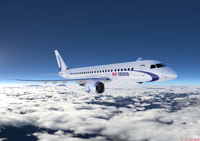 This computer graphic image shows how the Embraer 190-E2 will look in the colors of Air Costa, an Indian carrier which ordered 25 of the type (along with 25 Embraer 195-E2s) on February 13, 2014. Air Costa also secured purchase rights on 25 additional Embraer 190-E2s and 25 Embraer 195-E2s