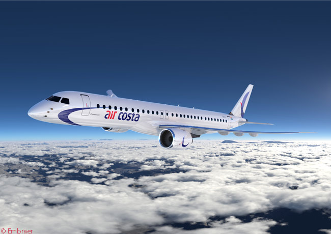 On February 13, 2014, at the Singapore Airshow 2014, Embraer announced that Indian carrier Air Costa had ordered 25 Embraer 190-E2s and 25 Embraer 195-E2s and had acquired purchase rights for 25 more of each model. This is how the Embraer 195-E2 will look in Air Costa's colors