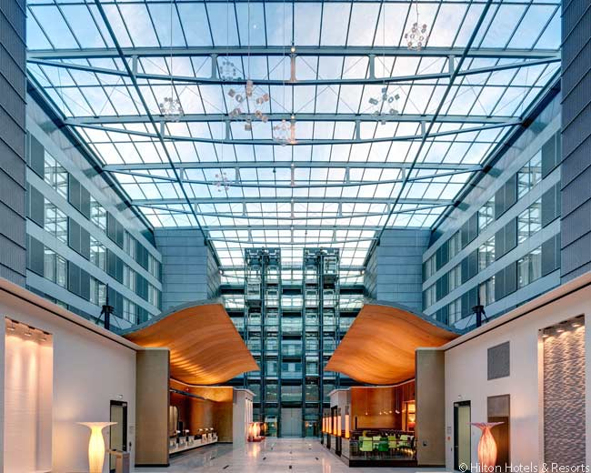 This is a partial view of the cathedral-like lobby of the Hilton Frankfurt Airport