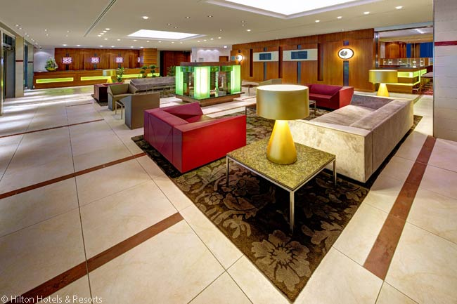 Like the hotel's guestrooms, the lobby of the Hilton Garden Inn Frankfurt Airport is decorated in a warm, relaxing palette of pastel colors
