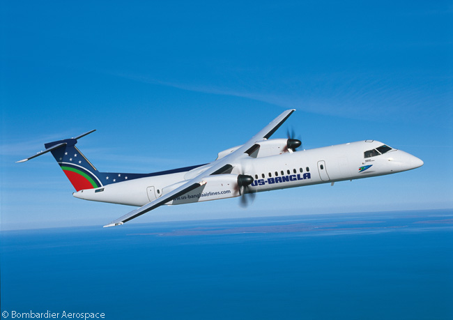 On February 13, 2014, Bombardier Aerospace announced that US-Bangla Airlines would become the first operator of the Q400 turboprop in Bangladesh, after acquiring two used Q400s from a third party. This computer graphic image shows a Q400 in US-Banglas Airlines' distinctive livery