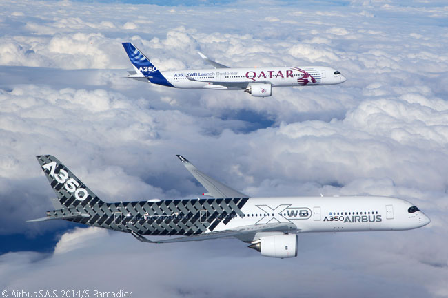 Airbus A350-900s MSN2 (in the foreground, the third flight-test A350-900) and MSN4 (the fourth flight-test A350-900) fly in formation during their respective maiden flights. Both aircraft made their first flights on February 26, 2014, doubling in one day the number of A350-900 jets flying in the A350 XWB flight-test program