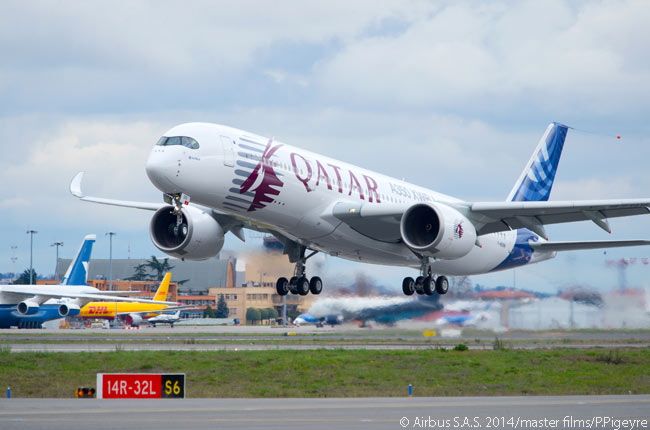 A350 XWB MSN4, the fourth flight-test A350-900, takes off for its first flight. It made the flight from Toulouse on February 26, 2014 at around 2:00 p.m. local time