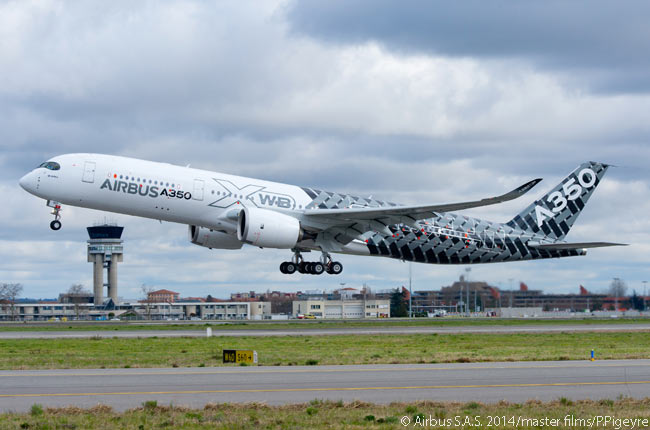 A350 XWB MSN2, the third flight-test A350-900, takes off for its first flight. It made from Toulouse on February 26, 2014 at around 12:00 noon local time