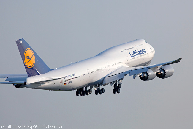 Lufthansa Boeing 747-8 Intercontinental D-ABYA takes off from Frankfurt Airport