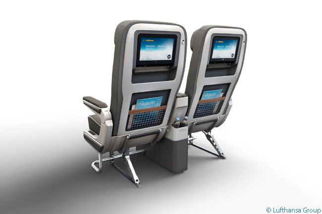 Lufthansa's long-haul Premium Economy seats have seatback in-flight entertainment screens which are at least 2 inches bigger in diameter than the screens in its Economy Class cabins