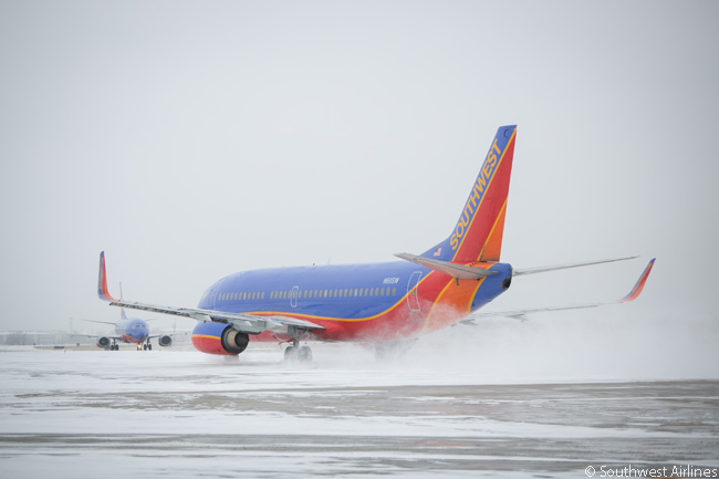 Unusually, Southwest Airlines' flights at Dallas Love Field, the airline's home base in the deep and normally hot southern U.S., operated in a snow storm on February 6, 2014