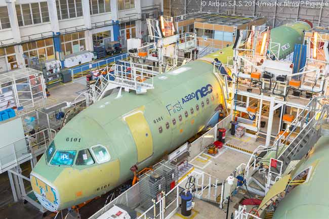 This March 17, 2014 photograph shows the first A320neo fuselage sections joined up on the Airbus A320 Final Assembly Line (FAL) in Toulouse