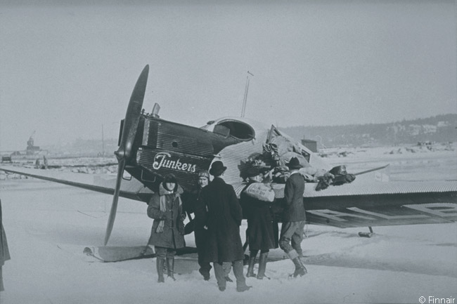 Finnair's predecessor Aero Oy performed its first commercial flight on March 20, 1924, using a Junkers F13 D-335 seaplane to transport 162 kilograms of mail from Katajanokka in Helsinki over the Baltic Sea to Tallinn in Estonia. This is the type of aircraft which performed the inaugural service, though in this photograph the aircraft is fitted with skis for operations on snow