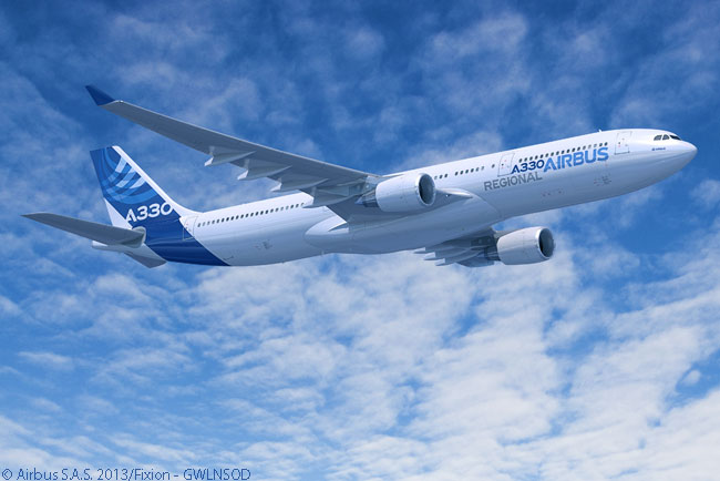 With a planned maximum take-off weight of about 200 tonnes and reduced-thrust engines, the Airbus A330 Regional version – planned for certification in 2014 – is tailored for regional and domestic operations in high growth areas such as Asia and China. It is designed to offer seat-mile costs 25 per cent lower than those of the highest-gross weight A330-300 version
