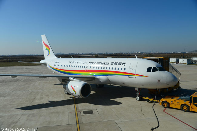 The first A319 produced at Airbus' Tianjin final assembly line in China was delivered to Tibet Airlines on November 23, 2012