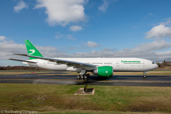 Turkmenistan's national flag carrier, Turkmenistan Airlines, took delivery on March 26, 2014 of the first of two Boeing 777-200LRs it had on order from the manufacturer