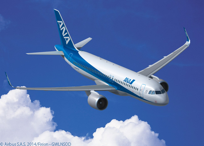 On March 27, 2014, All Nippon Airways announced it was ordering 40 Boeing widebody aircraft and 30 Airbus single-aisle jets. The Airbus order comprised seven A320neos and 23 A321neos. This computer graphic image shows an A320neo in ANA's distinctive livery