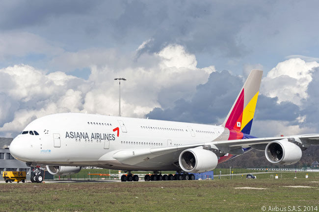Roll-out from the Airbus paint shop at the manufacturer's Hamburg plant on March 27, 2014, marked completion of the painting of Asiana Airlines' first A380 superjumbo