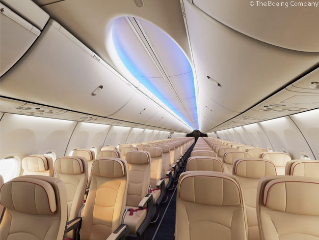 Japan Transocean Air announced on March 27, 2014 that it had ordered 12 Boeing 737-800s to begin its fleet renewal program. Pictured here is the interior of a JTA 737-800 with the Boeing Sky Interior