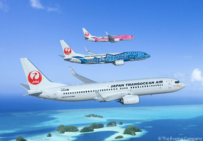 On March 27, 2014, Japan Transocean Air announced it had ordered 12 Boeing 737-800s. The order marks the start of the airline's fleet-renewal program, with the new aircraft scheduled to enter into service from 2016. Pictured here are three 737-800s in some of Japan Transocean Air's eye-catching color schemes