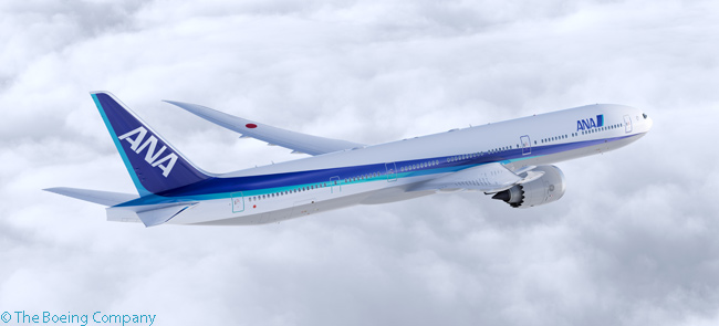 On March 27, 2014, Japanese carrier ANA announced it was going to place a large order for Boeing widebody jets. The order would include 20 Boeing 777-9Xs, six Boeing 777-300ERs and 14 Boeing 787-9s. This computer graphic image shows a Boeing 777-9X in ANA colors
