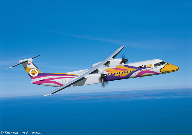 Thai low-cost carrier Nok Air converted previously booked options on two Bombardier Q400 NextGen turboprops to firm orders on March 31, 2014