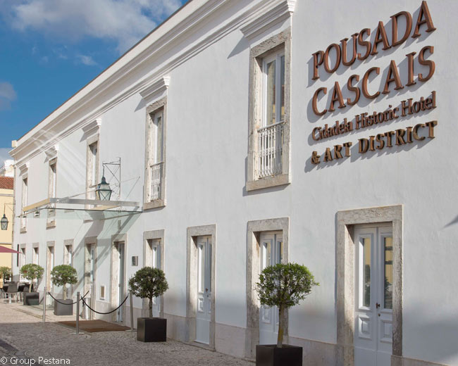 This is the exterior of the Pousada Cascais hotel, the center of the Cidadela Art District in the Citadel of Cascais