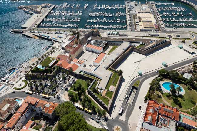 This is the walled Citadel of Cascais, which contains the Pousada Cascais luxury hotel.and the new Cidadela Art District. Near the center of the photograph may be seen the ancient  Fortress of Nossa Senhora da Luz