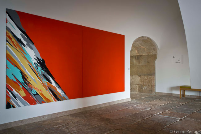 This art in the the ground-floor corridor leading to the Pousada Cascais – Cidadela Historic Hotel & Art District's Junior Suites was created by resident artist Paulo Arraiano