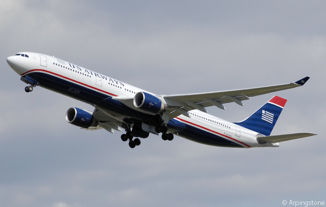 US Airways Airbus A330-323X N278AY is photographed on final approach to London Heathrow Airport