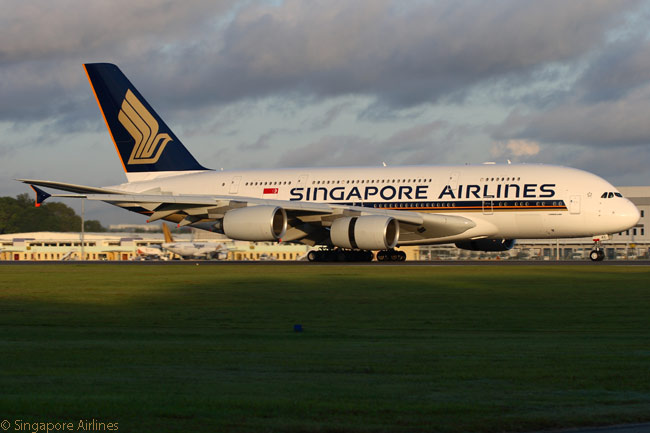 Singapore Airlines Airbus A380 9V-SKC uses its inner-engine thrust reversers to help brake after landing at Singapore Changi International Airport