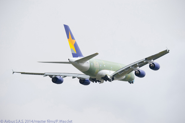 The first Airbus A380 destined for Japanese customer Skymark Airlines performed its first flight on April 8, 2014