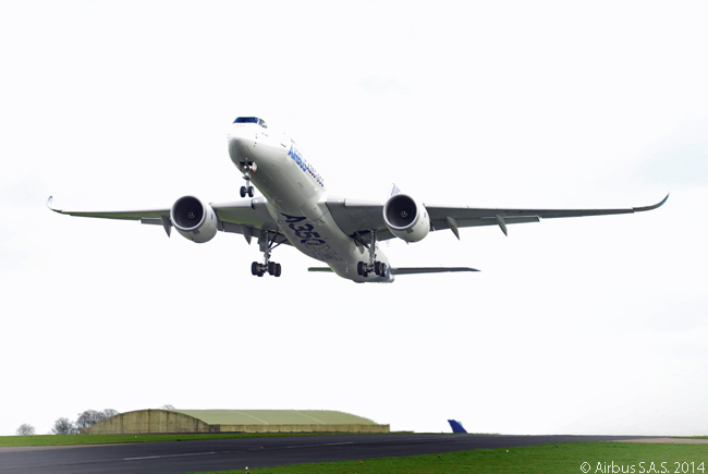 During the first visit of an Airbus A350 XWB to the United Kingdom, in April 2014, A350-900 MSN3 takes off from Cotswold Airport in Gloucestershire during routine certification testing
