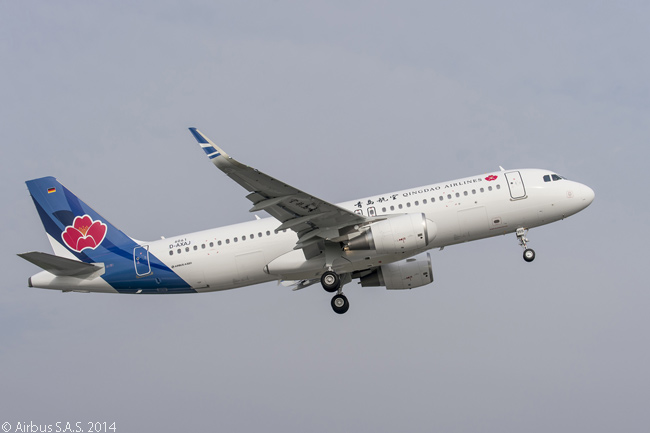 Chinese start-up carrier Qingdao Airlines took delivery of its first aircraft, a new Airbus A320 leased from Hong Kong-based China Aircraft Leasing Company, on April 10, 2014. Qingdao Airlines had also previously ordered 23 A320-family aircraft directly from the manufacturer