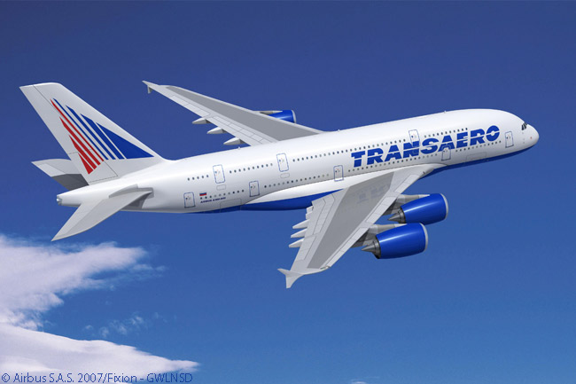 Russian carrier Transsaero Airlines has designed a 652-seat interior lay-out for each of its four new Airbus A380s, giving them the highest seating density of any A380s yet delivered and will also have more seats than any other commercial aircraft. Each Transaero A390 will have 12 Imperial (First) Class suites, 24 Business Class flat-bed seats and 616 Economy-class seats, each offering a 31- or 32-inch seat pitch