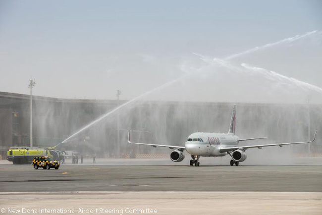 On May 1, 2014, a Qatar Airways flight operated by an Airbus A320 became the first commercial flight to land at Qatar's new Hamad International Airport, also known as New Doha International Airport. The aircraft was given a water-salute welcome by the Qatar Civil Aviation Authority Rescue Fire Fighting Services