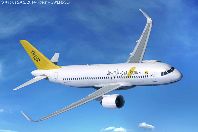 On May 5, 2015, Royal Brunei Airlines finalized an order for seven Airbus A320neos and took options on three more. The airline chose Pratt & Whitney PW1100G-JM engines to power its A320neos