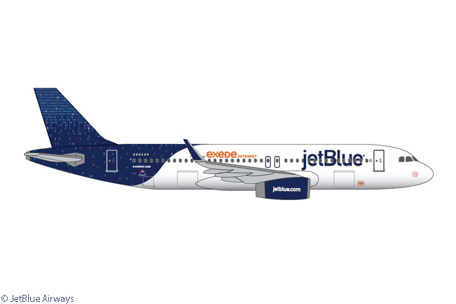 JetBlue Airways painted Airbus A320 N709JB in a new special livery, 'Binary Code', and renamed the aircraft 'CONNECTED TO 01000010 01001100 01010101 01000101', to to promote its Fly-Fi service, which provides passengers with broadband Internet in-flight. The binary code '01000010 01001100 01010101 01000101' translates to 'BLUE' in English