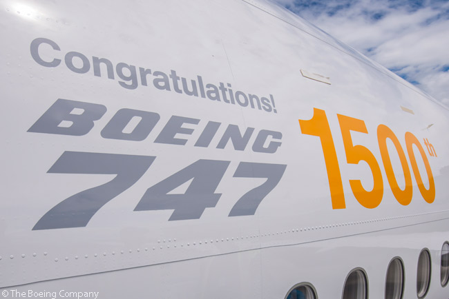 D-ABYP, the Boeing 747-8 Intercontinental passenger aircraft which was the 1,500th Boeing 747 off the production line, wore special titles for its delivery to Lufthansa on June 28, 2014