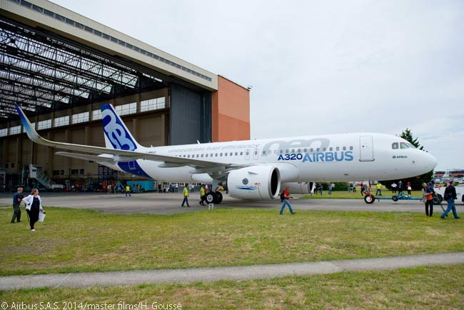 Airbus rolled out the first A320neo, complete and fully painted, on July 1, 2014